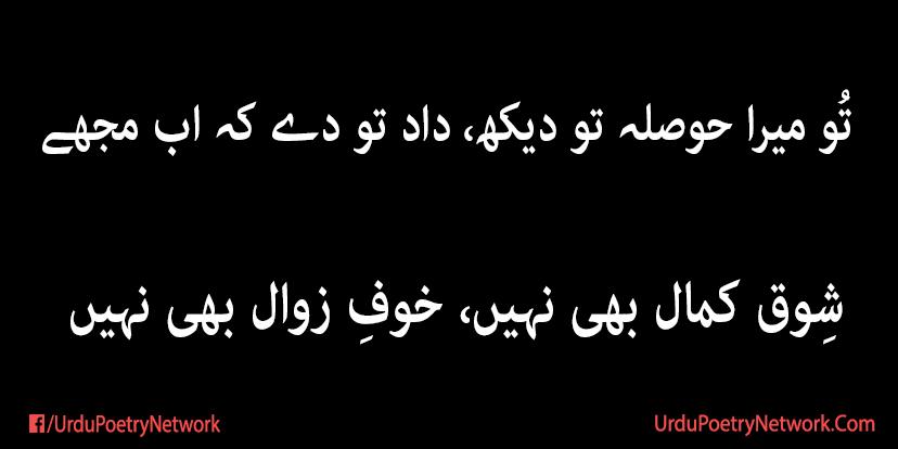 shoq e kamaal bhi nahi khoof e zawaal bhi nahi