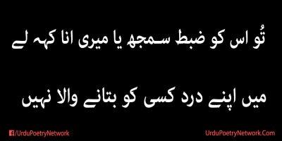 mein apny dard kisi ko batany wala nahi